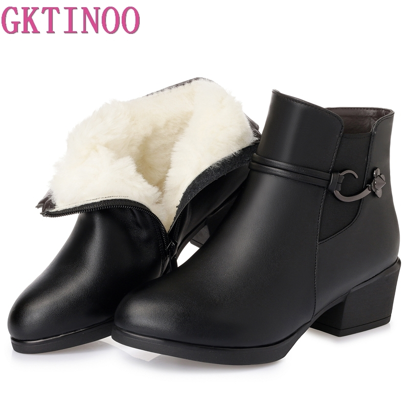 GKTINOO 2018 New Winter Warm Wool Comfortable Snow Boots Women Ankle Boots Thick Heel Leather Shoes Woman Fashion BootsGKTINOO 2018 New Winter Warm Wool Comfortable Snow Boots Women Ankle Boots Thick Heel Leather Shoes Woman Fashion Boots