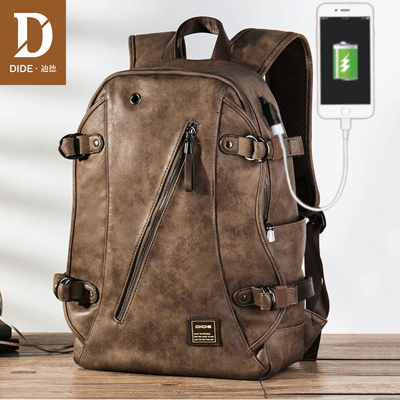 DIDE USB Charging Anti theft Leather School Backpack Bag For teenager fashion male Waterproof travel laptop