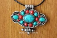 PN840 Tibetan Silver Antiqued Buddhist Prayer Box Amulet Handmade Nepal Turquoise Red Coral Beads Gau Pendant