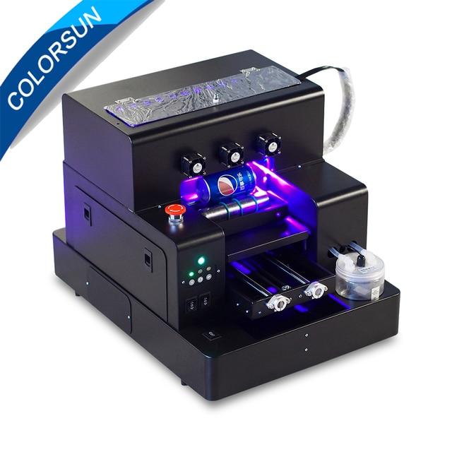 Colorsun Automatic A4 UV flatbed printer Bottle printer Phone cover Printing Machine for Epson L805 Print head UV printer A4