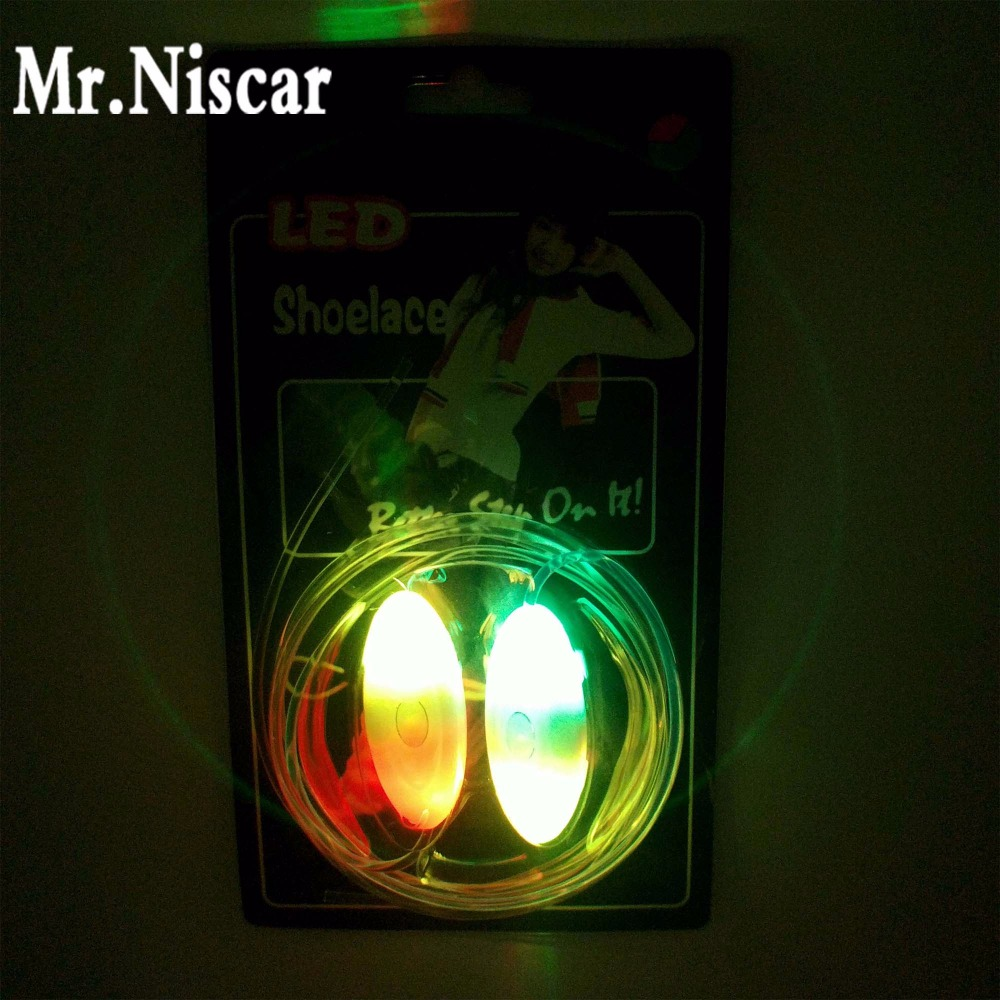 Mr.Niscar 1 Pair Rainbow LED Fluorescent Light Shoelaces Colorful Flashing Shoe Laces Strings for Boys Girls Kids Party Shoes glowing sneakers usb charging shoes lights up colorful led kids luminous sneakers glowing sneakers black led shoes for boys