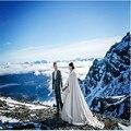 Vestido de Novia blanco de tamaño personalizado chaqueta de abrigo de invierno Del Cabo de la boda de Satén de Lujo con borde de piel de barrido tren vestidos de novia de la boda del cabo wrap