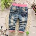 Primavera Otoño de los Bebés del bowknot del patrón del conejo Denim Jeans Pantalones Largos Pantalones infantiles del niño adecuado 0-2 años viejo ch