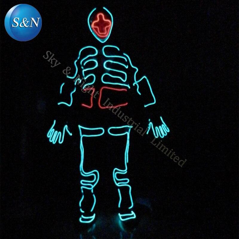 EL трон Танцы Трон Света костюм/светодиодный робот костюм/светодиодный Костюмы. /световой/Neon EL провода/Танцевальный костюм + Бесплатная дост