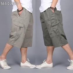82 Summer plus size casual capris shorts mens clothing loose tooling Elastic Waist Knee Length short trousers 6xl