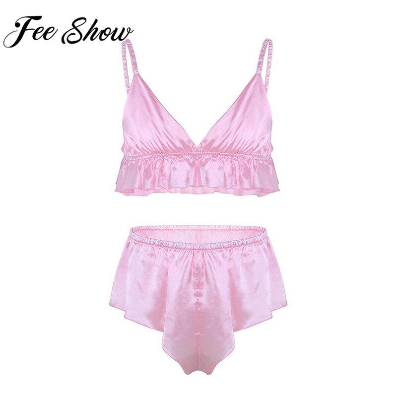 4d8f2a4ebdae Freebily Mens Silky Satin Halter Bra Pajamas Sissy Panties 2 Piece Lingerie  Set Underwear