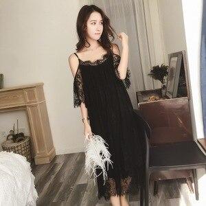 Image 5 - Lisacmvpnel Elegant Long Section Women Nightgown Solid Spaghetti Strap Lace Female Nightdress