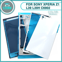 Full Housing Case For Sony Xperia Z1 L39 L39H C6902 Front Middle Frame Port Plug Cover Battery Back Cover Glass