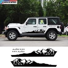 Mountain Off Road Graphic Auto Body Decor Sticker Car Door Side Skirt Vinyl Decal For Jeep Wrangler Rubicon Sahara 4 doors
