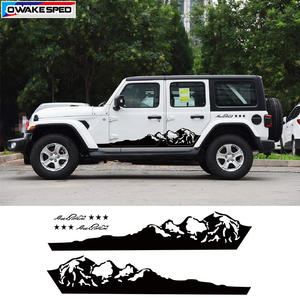 Image 1 - Mountain Off Road Graphic Auto Body Decor Sticker Car Door Side Skirt Vinyl Decal For Jeep Wrangler Rubicon Sahara 4 doors
