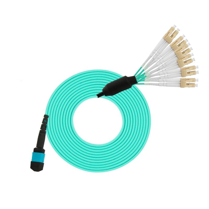 Câbles optiques de corde de correction de Fiber de MPO de noyau de 3 M MPO/APC-LC/APC 12