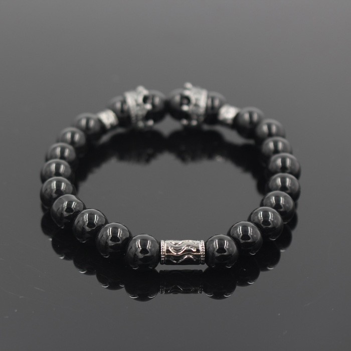 silver-imperial-crown-with-natural-glossy-stone-black-bracelet-2