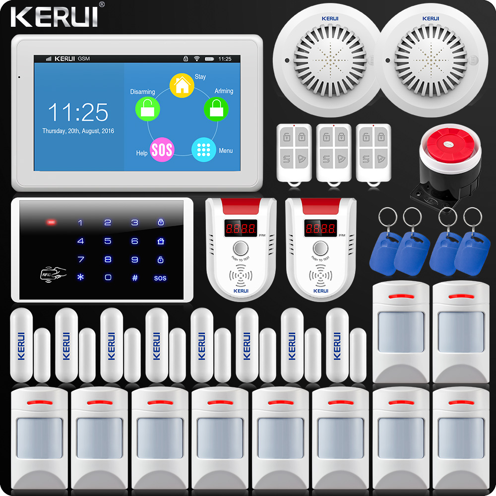 KERUI 7 Inch TFT Color Display WIFI GSM Alarm System ISO Android App Remote Control Home
