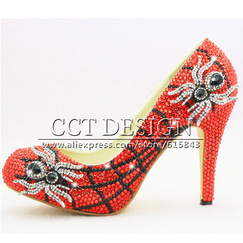 f6566c41039 2016 Unique Design High Heel Red Crystal Spider Funky Wedding Shoes  Handmade Customized Bridal for Evening Party Shoes Woman-in Women s Pumps  from Shoes on ...
