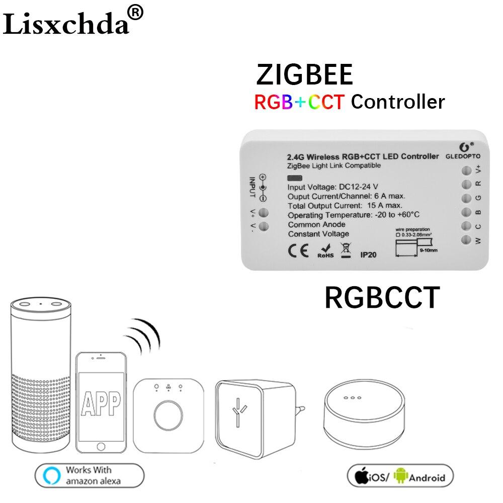 16 миллионов ZIGBEE светодиодный контроллер RGB + CCT <font><b>WW</b></font>/CW zigbee контроллер светодиодный DC12-24V светодиодный контроллер полосы zll app контроллер RGBW rgb