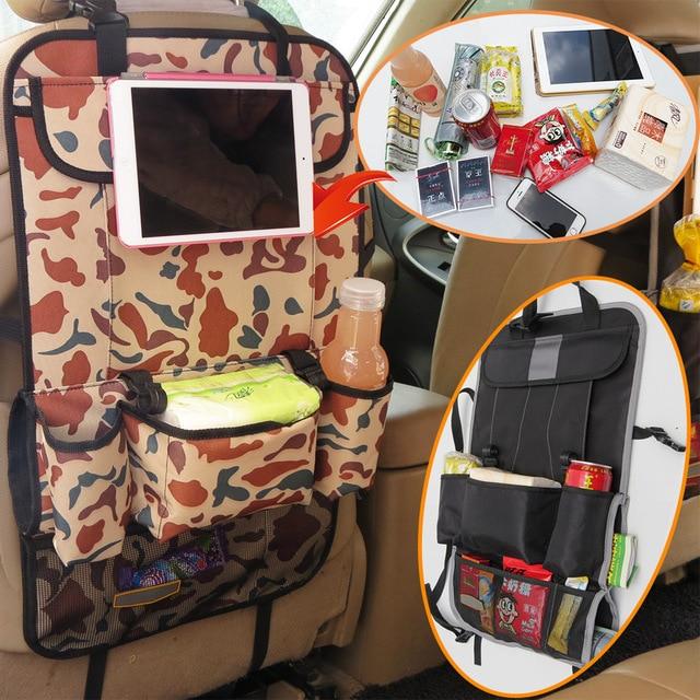 Auto Organizador Asiento Trasero Del Coche Multi Del Bolsillo Del Coche Organizador Caja De Almacenamiento bolsa de asiento de coche de bebé niños ipad bolso colgante para el asiento del coche cubre