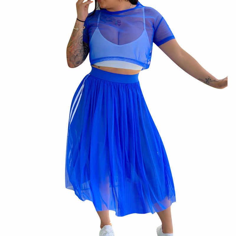 セクシーなツーピースのスカートのセット女性の夏のメッシュシースルー Tシャツトップとプリーツマキシスカートサイドストライプカジュアル 2 ピース衣装