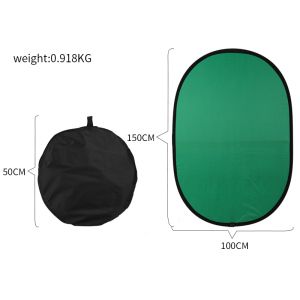 Image 2 - 100cmX150cm Collapsible Nylon Oval Reflector 2 in 1 Blue and Green Background Board Folding Backdrops Photo Studio Accessories