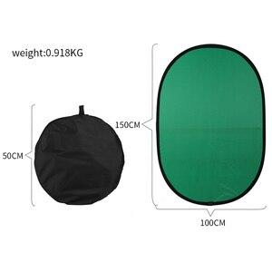 Image 2 - 100cmX150cm składany nylonowy owalny reflektor 2 w 1 niebieski i zielony tło deska składane tła akcesoria do studia fotograficznego