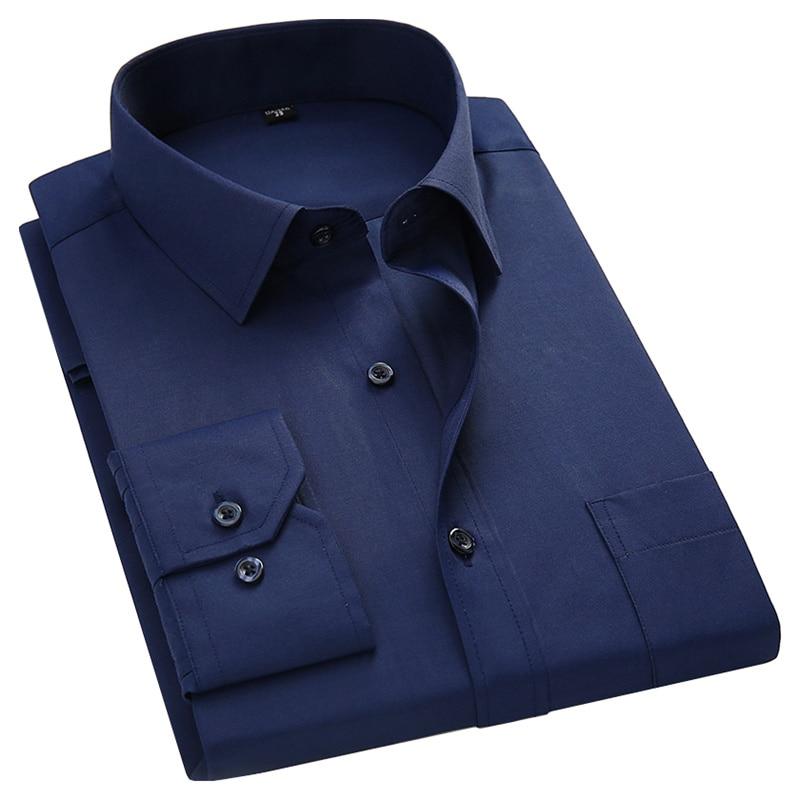 Plus Large Size 8XL 7XL 6XL 5XL Mens Business Casual Long Sleeved Shirt Classic White Black Dark Blue Male Social Dress Shirts 1
