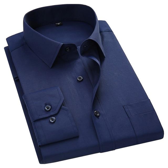 בתוספת גודל גדול 8XL 7XL 6XL 5XL Mens עסקים מקרית ארוך שרוולים חולצה קלאסי לבן שחור כהה כחול זכר חברתי שמלת חולצות