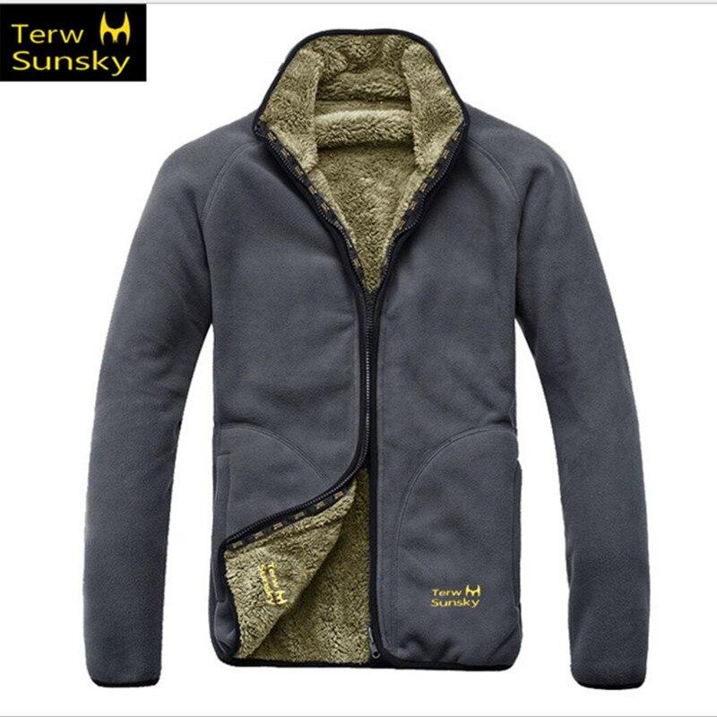 Winter Double Side Wear Fleece Men Women Jacket HQ Outdoor Fishing Camping Climbing Hiking Clothing Sports Lambswool Liner Coat