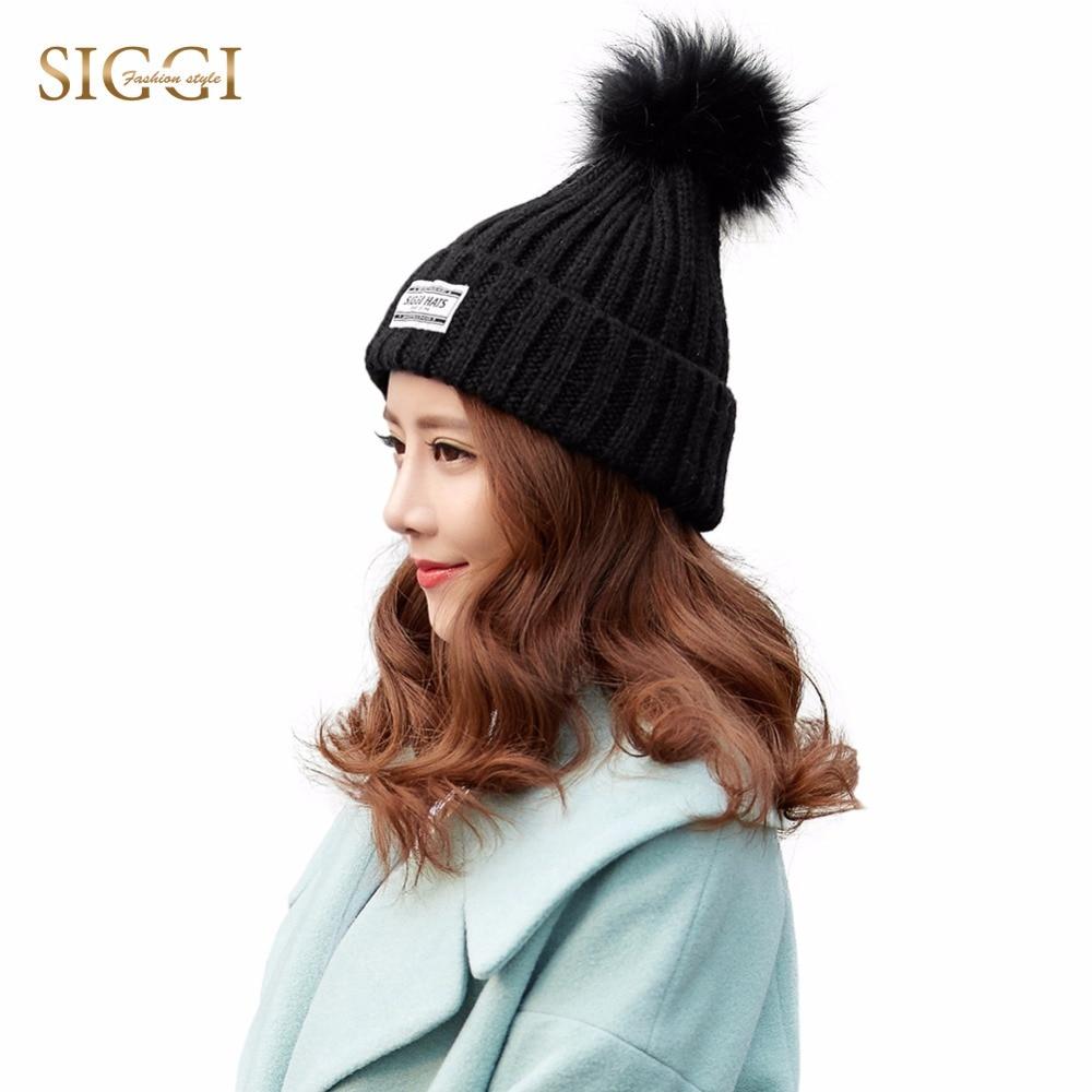 ФОТО SIGGI Beanies Hat Women Knitted Wool Skullies Real Raccoon Fur Pompom Hip Hop Winter Cap casual