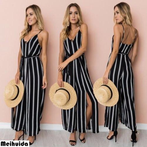 2018 Neue Mode Frauen Overall Gestreiften Overall Bodycon Romper Lange Hosen Clubwear Heißer HeißEr Verkauf 50-70% Rabatt