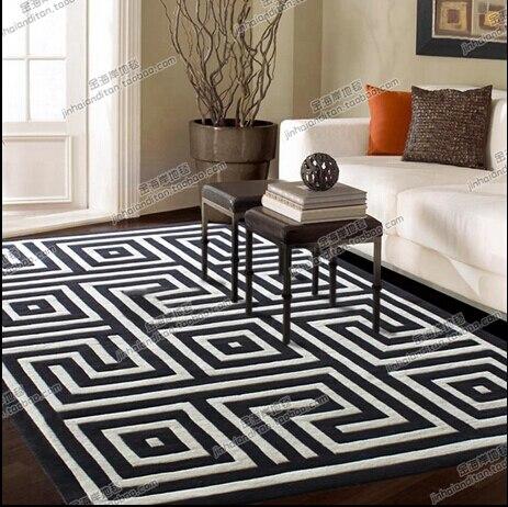 Европейском стиле Черный и белый цвета плед ковер гостиной журнальный столик диван кровать спальня ковер ручной акриловые ковер пользоват...