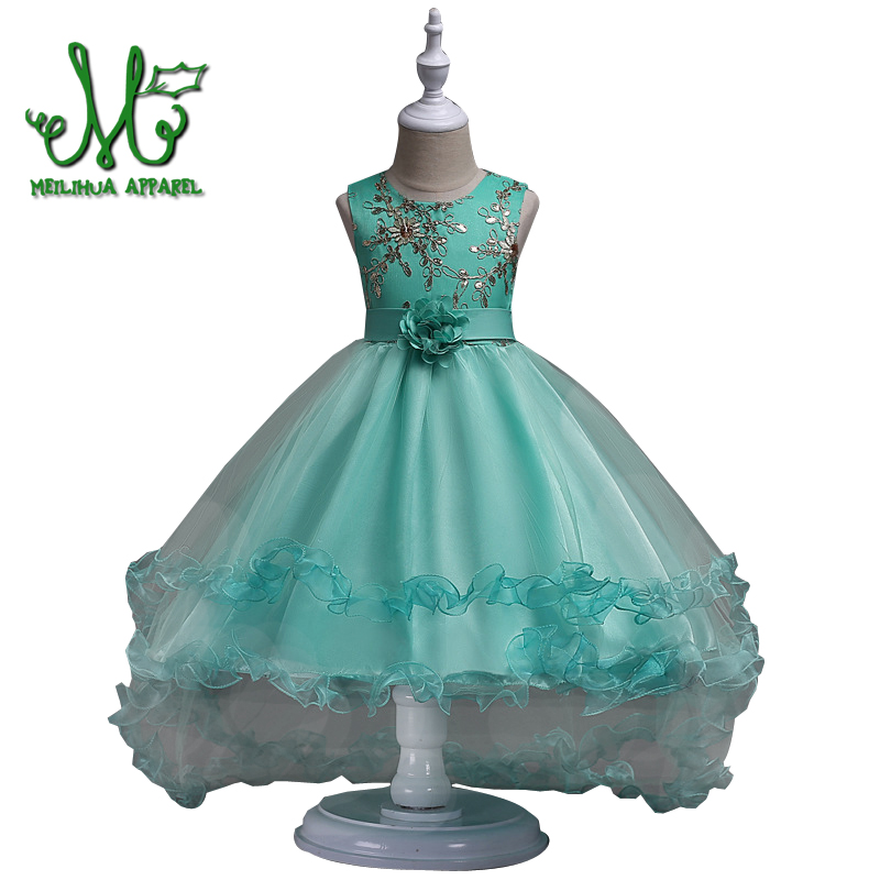 5 6 8 10 12 14 16 year Girl Flower Embroidered Dress Kids Pageant Party Wedding Bridesmaid Ball Gown Prom Princess Formal Dress 2017 new flower girls party dress embroidered gownceremonial robe dress formal bridesmaid wedding girl christmas princess robe