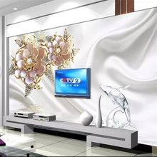 Custom wallpaper 3d photo murals white flower jewelry dolphin TV background wall papers home decor papel de parede