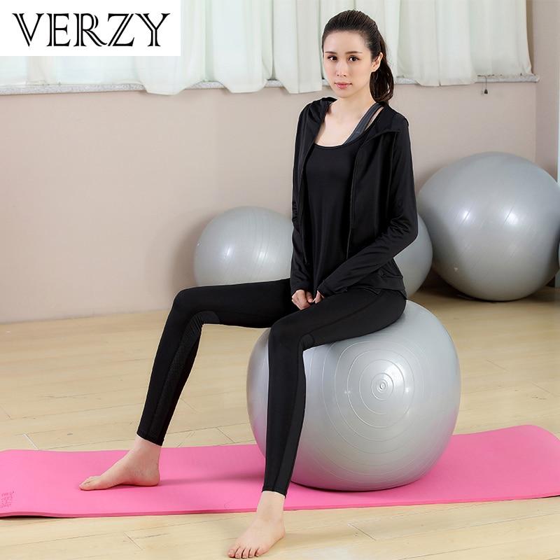 Novo Conjunto de Yoga Mulheres Roupas de Ginástica Preto Sem Alças de Manga Comprida T Shirt + Bra + Calça + Casacos 4 pcs de Fitness Respirável Correr Desporto Suit - 5