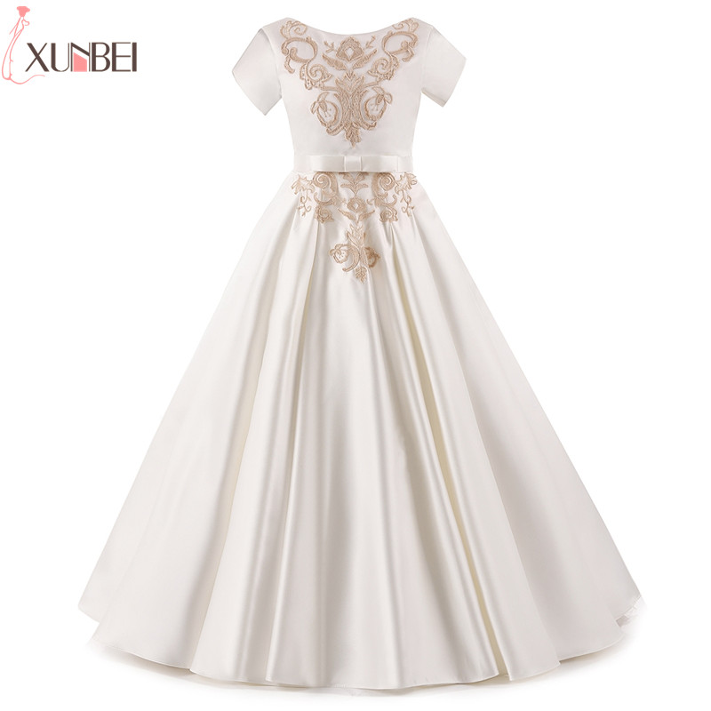 Real Photo White Satin   Flower     Girl     Dresses   Half Sleeves 2018 Appliques Pageant   Dresses   For   Girls   Lace Communion Princess   Dress