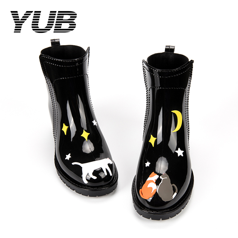 YUB Brand PVC Waterproof Fashion Rain Boots for Girls with Graffiti Cute Cat Design Slip-On Winter Boots yub brand waterproof rain boots for women with solid color slip on winter mid calf shoes for girls