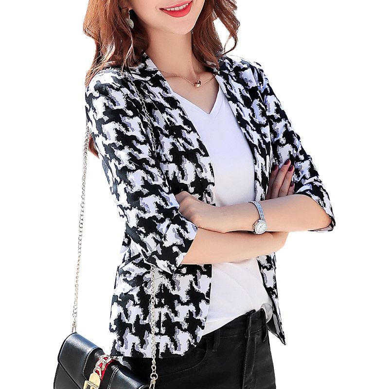 Printed Half Sleeve Small Suit Jacket Korean Lady Temperament Casual Slim Fit Retro Black blazer plus size 4XL Spring Coat f960