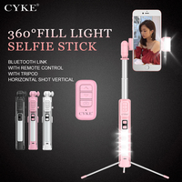 CYKE 4 in 1 Selfie Stick Phone Tripod Extendable Monopod with Bluetooth Remote Beauty Fill light for Xiaomi iphone Smartphone
