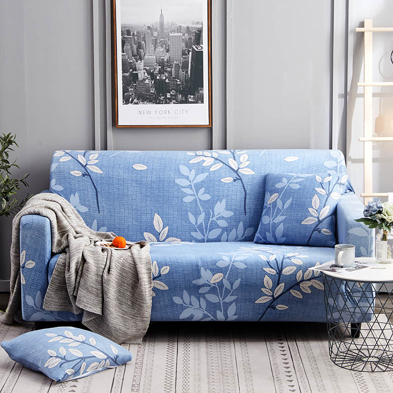 1pc Leaf and Flower Printed Sofa Cover Made of Polyester and Spandex Fabric for L Shaped and Corner Sofa 14