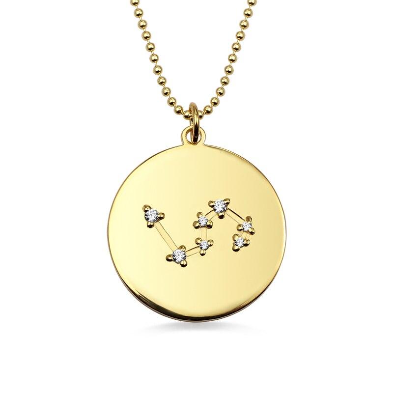 AILIN nouveau Design 12 zodiaque signe disque collier pour femmes couleur or pour dame disque pendentif pour cadeau