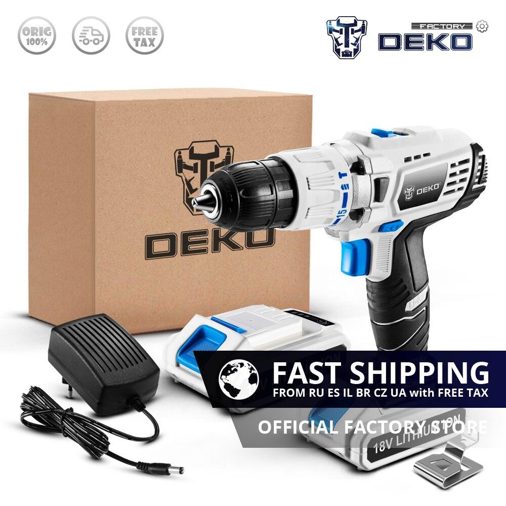 DEKO GCD18DU3 18V Impact Cordless Drill DC Lithium Battery 50N m Electric Screwdriver 2 Speed LED