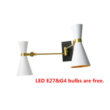 Up & Down Nordic Wall Lamp E27+G4 Applique Murale Luminaire Arandela Lampara Pared Bedroom Reading Lamp Sconce Iron Wall Light iwhd vintage glass lampara pared creativeretro iron loft wall lamp black bedroom lighting stairs beside reading light fixture