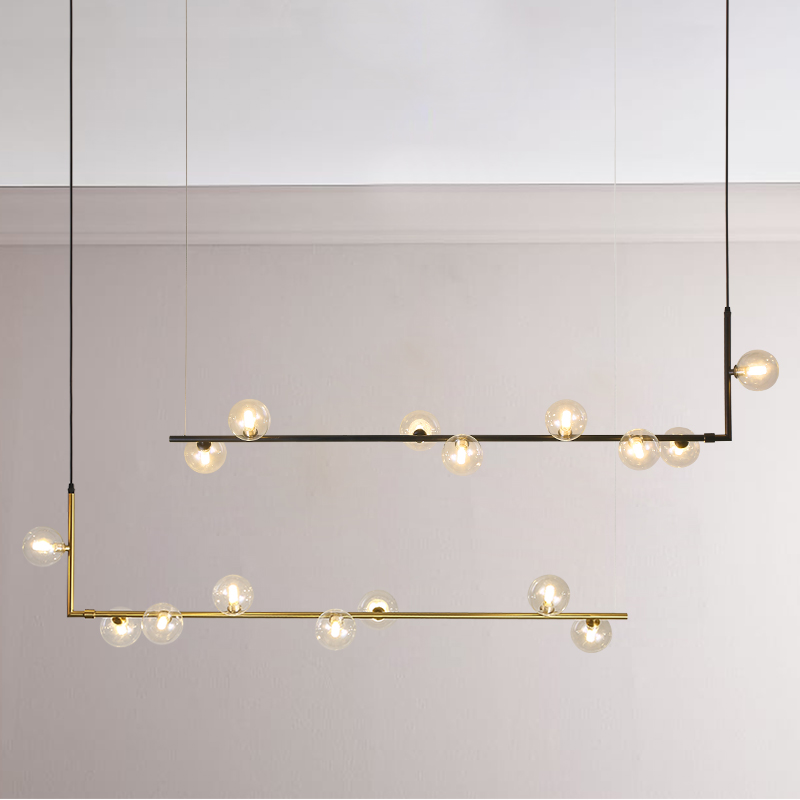 Modern Minimalist Chandelier Lights For Kitchen Bar Table Long Chandelier Led Design Black Loft Glass Ball Hanging Light Fixture
