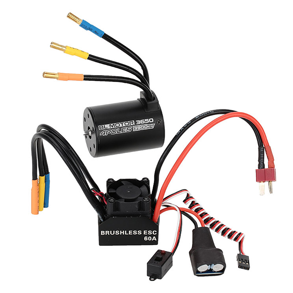 new aluminum 3650 3900kv 4p sensorless brushless motor and 60a brushless esc with 5 8v 3a switch mode bec for 1 10 rc car parts [ 1000 x 1000 Pixel ]