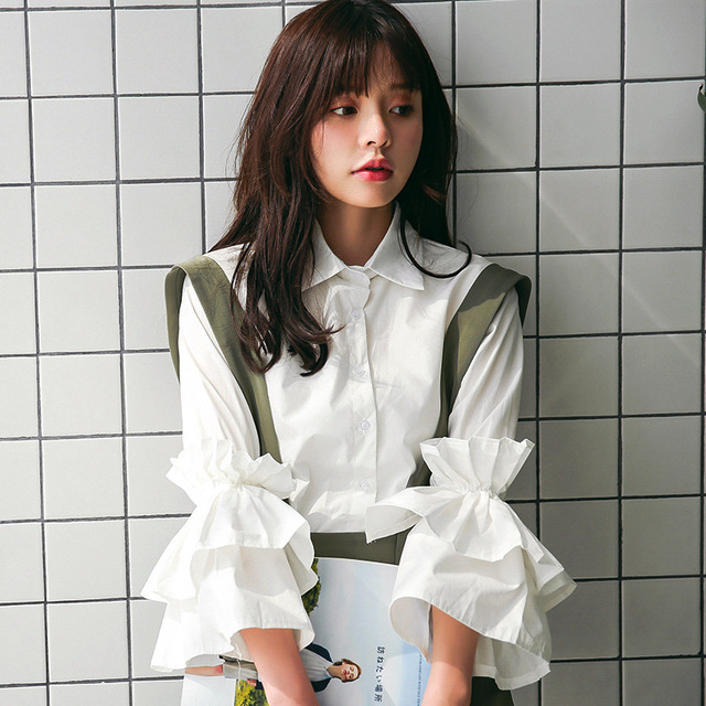 6570e143d265ee 2018 Autumn Fashion Women Korean Sweet White Layer Large Reffles Blouse  Preppy Style Simply Splicing Ladies Shirts Tops Clothing