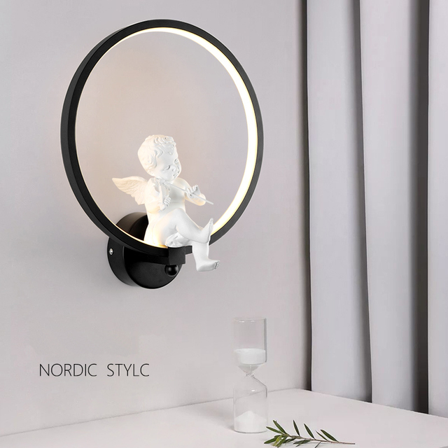 Creative Nordic angel led wall lamp wall lamp sitting room  contemporary and contracted study children warm gift marriage lamps