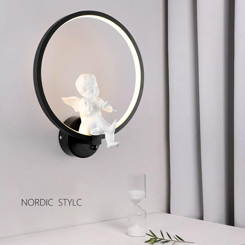 Creative Nordique ange led mur lampe mur lampe salon contemporain et contracté étude enfants chaud cadeau mariage lampes