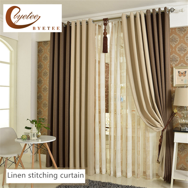 Byetee Modern Living Room Luxury Window Curtains Striped: [byetee] High Quality Beige Coffee Bedroom 100% Blackout
