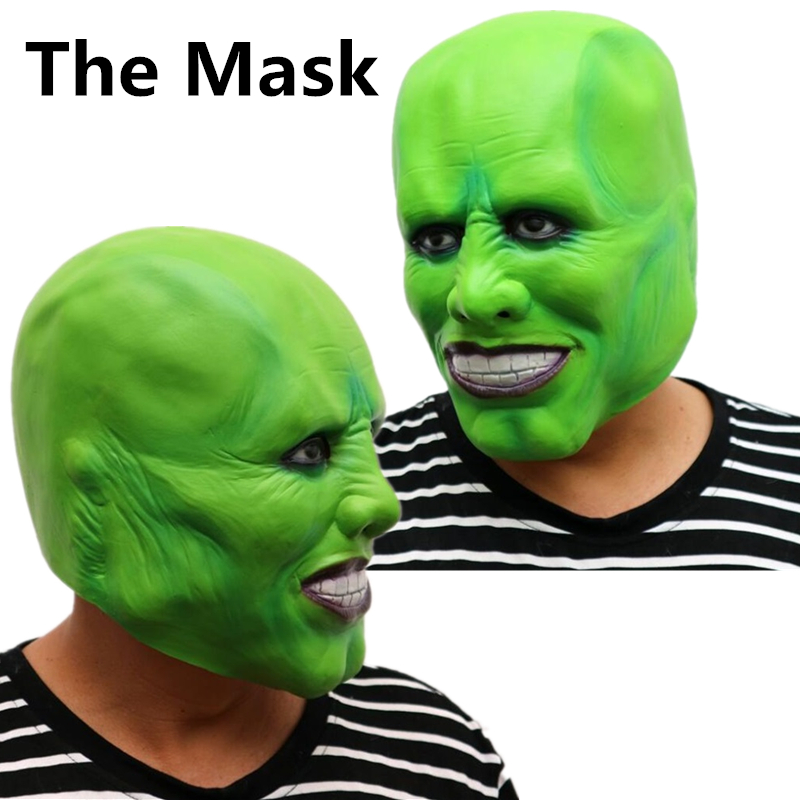 The Mask Movie Jim Carrey Cosplay Costumes Green Mask Costume Fancy Latex Masks Halloween Party