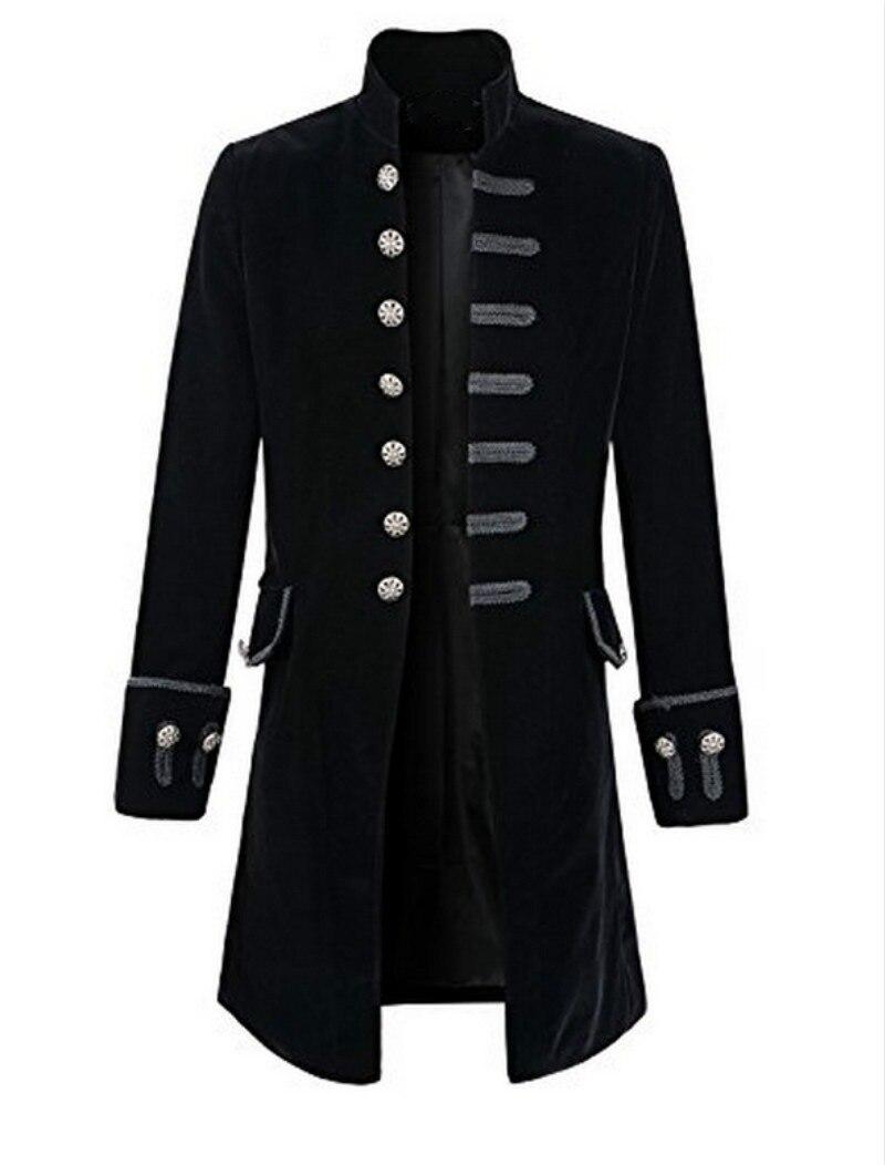 CHAUDE Mens Rétro Steampunk Tailcoat Long Peacoat Gothique Victorienne Manteau A9