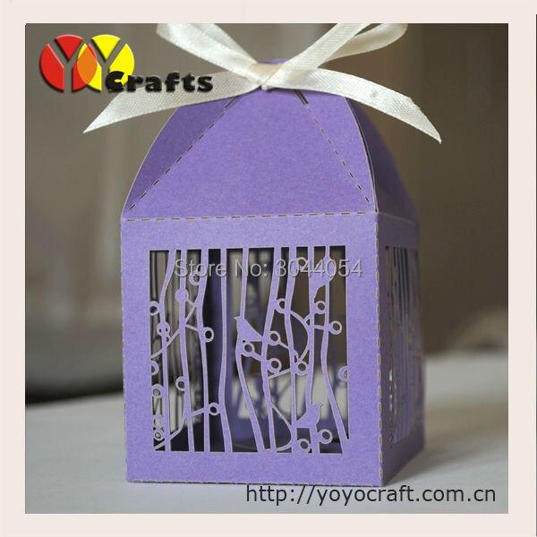 Коробка конфет Свадьба пользу коробки 50 шт. Лавендар Лазерная резка птица дизайн мини-Свеча и коробки cookie
