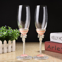 Creative Gift Art Craft White Pink Wedding Glasses Champagne Red Wine Bride Groom Crystal Enamel Cup